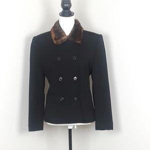 Ralph Lauren  Pea Coat with a Fur Collar
